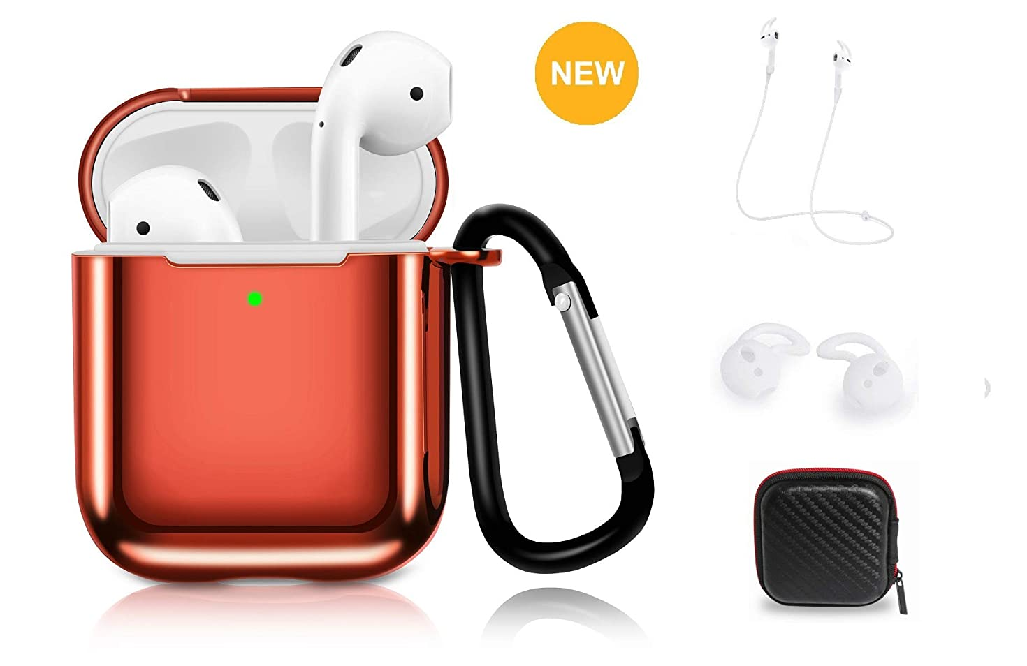 AirPods Case Cover, Taosings 360° Protective TPU AirPods Skin Accessories Kit Cover Compatible with AirPods 1 2 Charging Case with Carabiner+Strap+Earhooks+Storage Box[Support Wireless Charging]