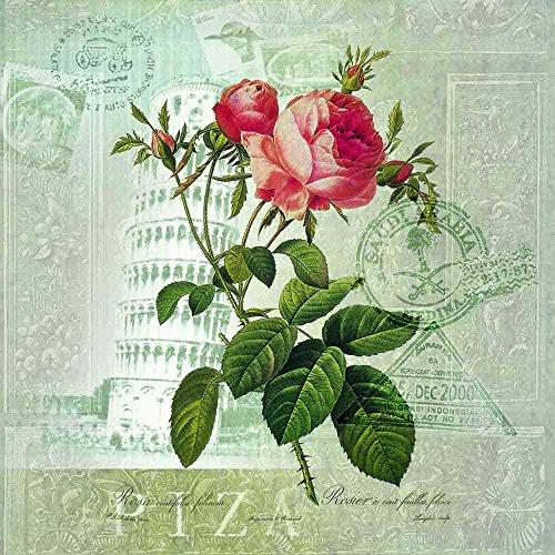 Ssuger9 Vintage Rose Wachssiegel Stempel mit Rosenholzgriff