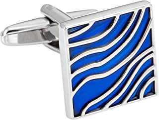 أزرار أكمام رائعة من مجوهرات اوربان للرجال موجات زرقاء تصميم المينا على الفولاذ المقاوم للصدأ