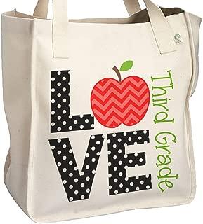 LOVE Third Grade - School Teacher's Tote Bag - Perfect Gift for any teacher