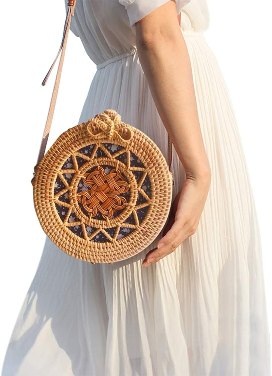 Handwoven Round Rattan Hollow Shoulder Bag With Leather Strap & Bow Button