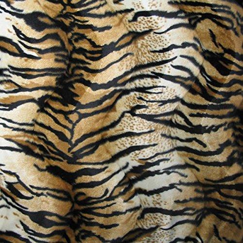 STOFFKONTOR Tiger Tierfellimitat Velboa Stoff Meterware