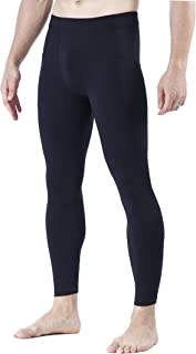 Men's Athletic Yoga Leggings Side Pockets Gym Training Workout Running Compression Pants Dance Tights