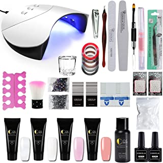 Fashion Zone 4 Colors Poly Nail Gel set with 36W LED Nail Lamp Nail Extension Gel Kit Professional Nail Technician All-in-One French Kit