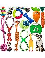 Tonsooze 13 stuks hondenspeelgoed, kauwspeelgoed, hondentouw, speelgoed, duurzaam rubber, plezier, interactief speelgoed, voordelig voor de tandreiniging van de hond, voor pups, kleine en middelgrote honden