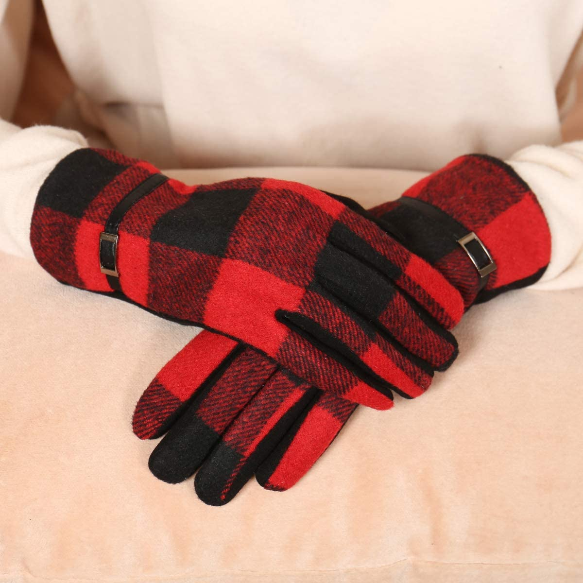 Womens Touch-Screen Gloves - Winter Gloves Warm Lightweight Fleece Driving Smart Phone Touch Tech Glove Leopard