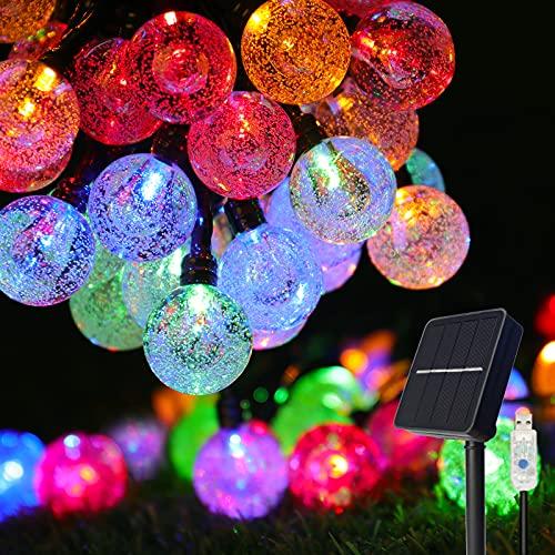 Solar lichterkette aussen, COOLAPA außen solar lichterkette, Lichterkette mit 50er LED Kristallkugeln 8 meter garten lichterkette außen für Zimmersdekorationen, Hochzeiten, Partys (2-bunt)