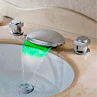 Cascata/Led Chrome Sink faucets Widespread Two Handles Three faucets for Bathtub/Brass