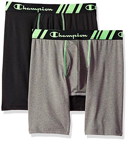Champion Men's Tech Performance Long Boxer Brief, Black/Dynamic Grey Heather, X-Large