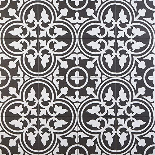 Casa Moro Mediterrane Keramikfliesen orientalisch Flavie Noir 20x20 cm 1 qm Feinsteinzeug in Zementoptik frostsicher   Bodenfliesen & Wandfliesen im Bad Flur Küche Badezimmer   FL7005