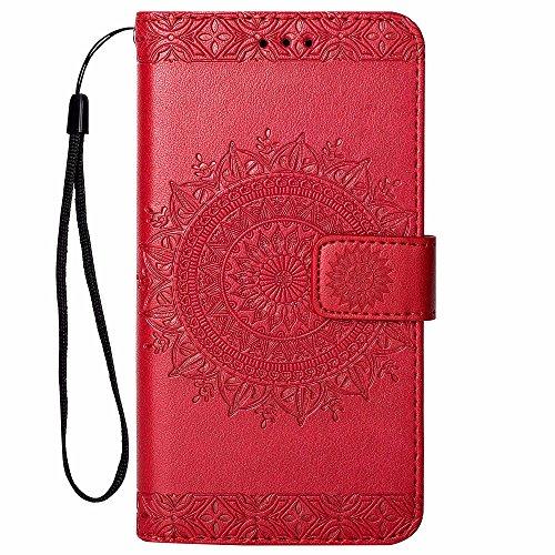 Hancda Hülle für Samsung Galaxy S5, Handyhülle Flip Case für Samsung Galaxy S5 Schutzhülle Leder Handytasche für Samsung Galaxy S5 Tasche Geldbörse Magnet Lederhülle für Samsung Galaxy S5,Rot