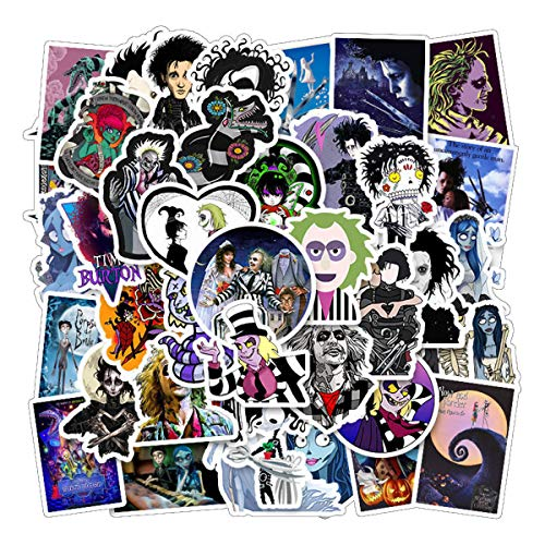 Tim Burton Movie Series Stickers 50pcs for Laptops Water Bottles Toys and Gifts Cars Stickers Cartoon Anime Aesthetic Sticker Pack for Teens, Girls, Women(Tim Burton Movie Series)