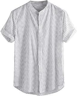 Camisa De Verano Camisa De Lino De Manga Corta Tamaños Cómodos Para Hombre Camisa Henley Para Hombres Camisas Informales D...