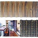 ウッドパネル ウッドデッキ ウッドタイル 木製タイル ガーデニング 25枚セット(約2m²)のジョイントパネル 屋内・屋外用の防水 庭・バルコニーDIY用品 炭化防食 自由に接合できる ウッドデッキ