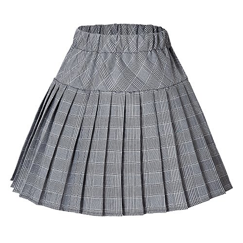 Urban CoCo Women's Elastic Waist Tartan Pleated School Skirt (X-Large, Series 11 White)