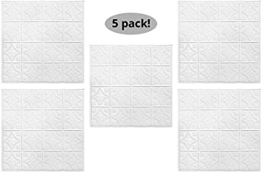 "American Tin Ceilings Nail Up Kit, Pattern #3, 5 Pack (24"" x 24"", Bright White Satin) …"