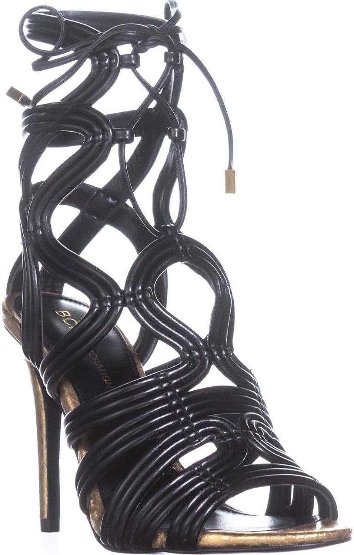 BCBGeneration Jax Heeled Sandals, Metallic Nappa Carbone, 6.5 US   36.5 EU