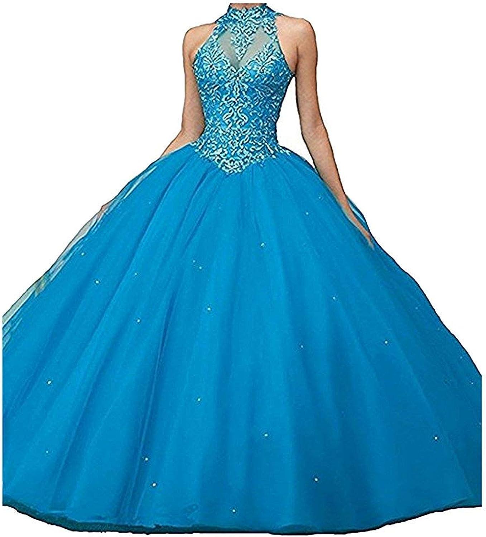 LiBridal Women's Halter Appliques Formal Prom Dress Open Back Evening Long Ball Gowns