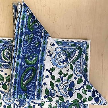 Handmade 100% Cotton Floral Block Print Napkins Table Linen Blue Green 19  x 19
