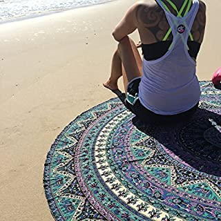 Popular Indian Mandala Round Roundie Beach Throw Tapestry Hippy Boho Gypsy Cotton Tablecloth Beach Towel , Round Yoga Mat By Popular Handicrafts, 70 inches diameter