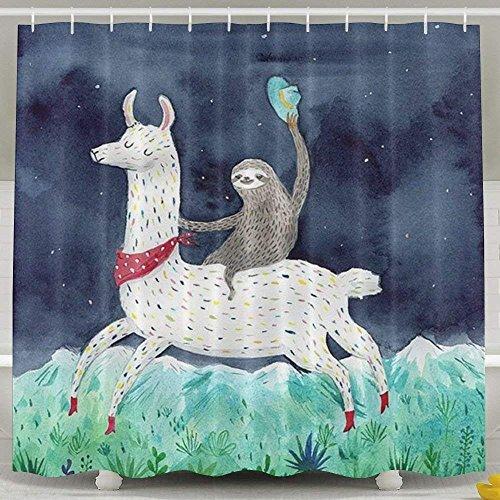 Decams Duschvorhang-Set mit Faultier und Lama, wasserdicht, Polyester