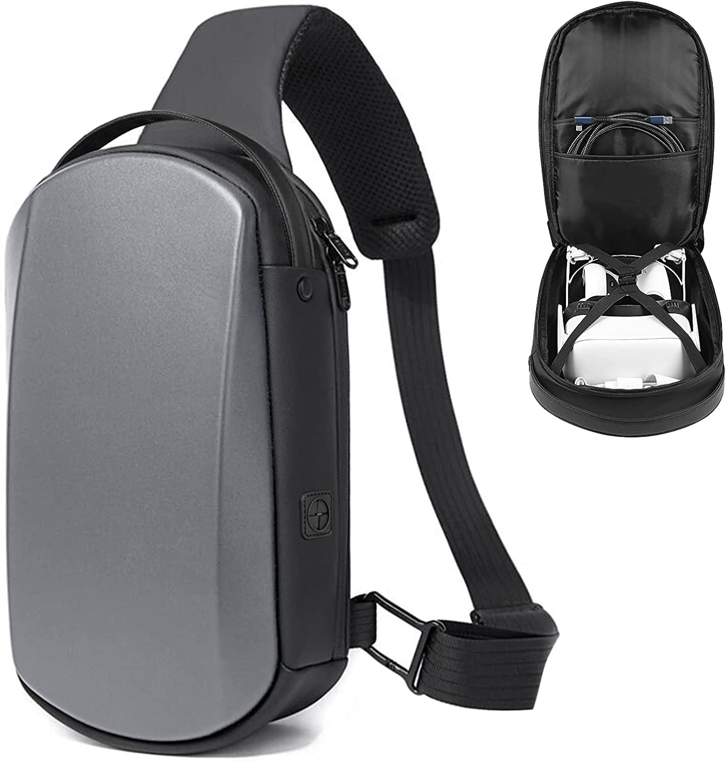Oculus Quest 2 Carrying Case - Waterproof, Portable Protection - Fit for Elite Strap, Halo Strap & All VR Acessories - Travel Crossbody Backpack Shoulder Bag for Men Women (Grey)