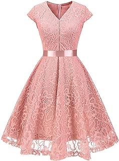 Dress for Women, Botrong V-neck Short Sleeve Paneled Lace Lace Belted Dress XX-Large Pink