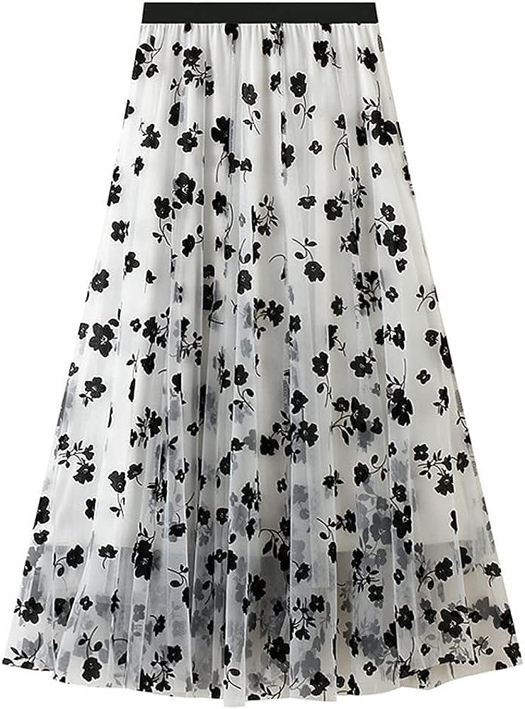 IDEALSANXUN Womens Three Layer Floral Tulle Skirts High Waist Aline Chic Pleated Midi Skirts