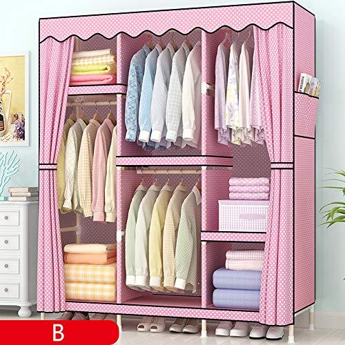 wardrobe Einfacher Kleiderschrank, tragbarer vertikaler Massivholzschrank, Aufbewahrungsschrank für Haushaltskleidung, 130 * 45 * 170 cm