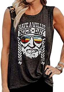 Have A Willie Nice Day Tank Tops Womens Vintage Country Music Sleeveless T Shirt Summer Letter Graphic Tee Vest