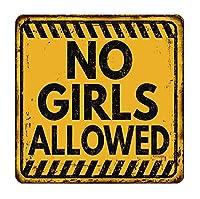 なまけ者雑貨屋 No Girls Allowed ヴィンテージ風 ライセンスプレート メタルプレート ブリキ 看板 アンティーク レトロ
