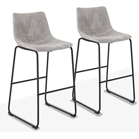 Alpha Home 30 Inches Bar Stools Set Of 2 Bar Chair Counter Height Stools Vintage Leathaire Bar Height Stools Pub Kitchen Counter Height Stools Chairs Dining Room Furniture 350 Lbs Capacity Grey