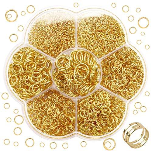YuuHeeER Abierto anillos de salto conectores a granel joyería Kit de resultados y llavero cadena 1800pcs oro joyería kits