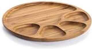 طبق تقديم للفطور والعشاء دائري مقسم مصنوع من خيزران البامبو الطبيعي قياس22.4x2سم صنع تركيا