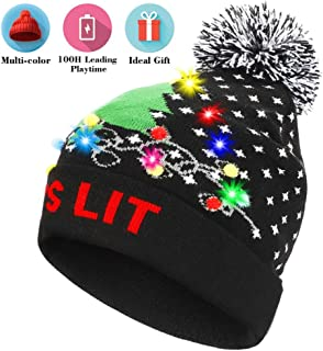 LNKK Light Up Beanie Hat Flashing LED Christmas Knitted Hat Cap with 100H Extra Longer Playing Time Unisex for Men Women Kids Holidays, Festivals, and Celebrations, Best Christmas