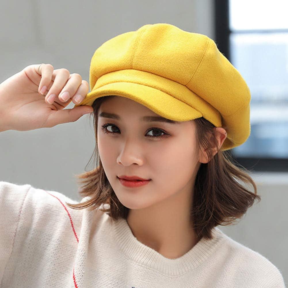 MAGIMODAC Damen Schirmmütze Wintermütze Wollmischung Ballonmütze Barett Mütze mit Schirm Verstellbar Gelb
