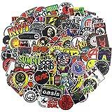 NEULEBEN Adesivi Musicali 100 Pezzi Adesivi Rock And Roll, Adesivi in Vinile per Personalizzare Laptop, Organo Elettronico, Chitarra, Pianoforte, Casco, Skateboard, Adesivi per Graffiti Bagagli