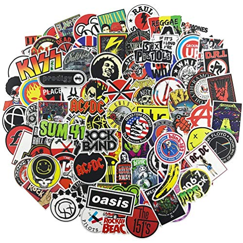 NEULEBEN Band Stickers 100 Stks Rock and Roll Muziek Stickers, Vinyl Waterdichte Stickers voor Personaliseren Laptop, Elektronisch Organ, Gitaar, Piano, Helm, Skateboard, Bagage Graffiti Decals