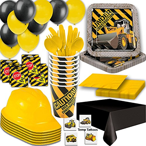 Construction Party Supplies - 24 Guest - Plates, Cups, Napkins, Tablecloth, Cutlery, Loot Bags, Balloons, Hanging Decorations, Hard Hats, Tattoos - Black and Yellow Builder Zone Theme Birthday
