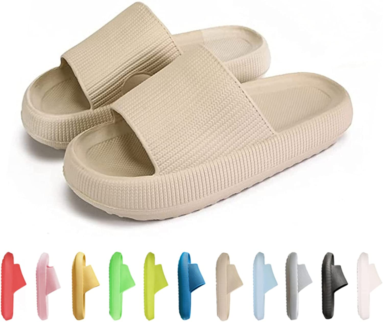 COVS Pillow Slides Slippers, Massage Shower Bathroom Slipper, Non-Slip Quick Drying Open Toe Super Soft Thick Sole Sandals, 2021 Latest Technology-Super Soft Home Slippers for Women and Men EVA Platform