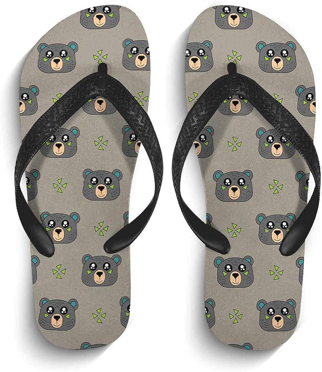 InterestPrint Men's Flip Flop Sandals Cute Dog Pattern Summer Beach Thong Sandal Outdoor Footwear L
