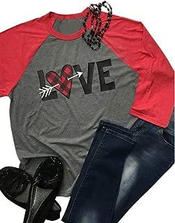 Women Love Heart Arrow Print Baseball Tees Buffalo Plaid Valentines Day Shirt 3/4 Sleeve Raglan Top T-Shirt