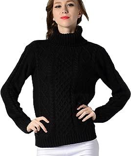 TAKIYA Womens Turtleneck Sweater Pullover Sweater Cable Knit Long Sleeve Knitwear Top