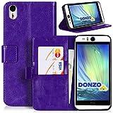 DONZO Tasche Handyhülle Cover Hülle für das HTC Desire Eye in Violett Wallet Washed als Etui seitlich aufklappbar im Book-Style mit Kartenfach nutzbar als Geldbörse