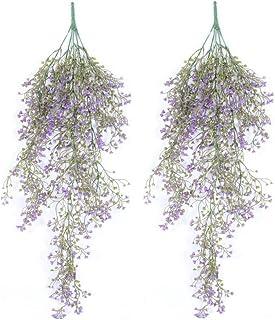 Plantas articiales GKONGU 2 Piezas Enredadera artificial Ideal para la decoración de la pared de la casa Decoración de la cerca de la yarda-Púrpura