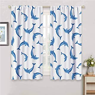 GUUVOR Sea Animals Decor Room Darkened Heat Insulation Curtain Pattern with Dolphins Illustration Ornament Nature Under The Sea Wildlife Living Room W54 x L63 Inch
