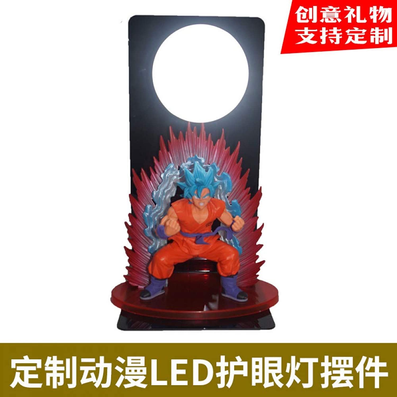 CXQ Kreative Anime Dragon Ball Sun Wukong Super Blau Welt Wang Boxing Yuan Luft Bombardiert LED Augenschutz Puppe Modell Tischlampe, Wukong Jie Wang Boxing 01