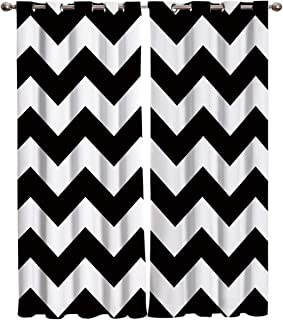 T&H Home Black White Chevron Curtains, Zig Zag Pattern Window Curtain, 2 Panel Curtains for Sliding Glass Door Bedroom Living Room, 80