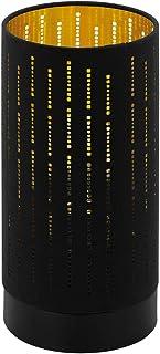 Eglo Lampe de Table Varillas, 1 Ampoule, Lampe de Chevet Moderne, en Acier et Textile, Lampe de Salon en Noir, Or, Lampe a...