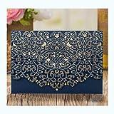 XLYAN Tarjeta Invitación Boda Patrón Calado Tarjetas Invitación Boda Set Papel Imprimible En Blanco,con sobre,50 Sets,Blue